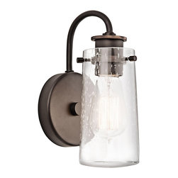 Ballard Designs - Ellison One Light Wall Sconce - The clear seedy glass shade of our Ellison Wall Sconce is the answer to adding stylish lighting without detracting from your wall decor. Fill it with a vintage-style bulb to enhance the look. Exposed hardware has a bronze finish.Ellison 1-Light Wall Sconce features:Vintage industrial design style. Crafted of metal. Pair with our Vintage Light Bulb LI059 (sold separately).