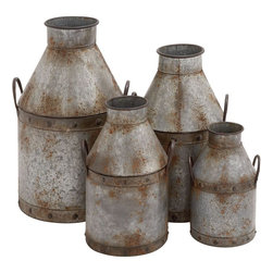 """Benzara - The Rustic Set of 4 Metal Pots - Are you looking for a pots that you use functionally as well as items of decor? Looking for pots that will create a rustic and rural effect? Well, this set of four metal pots is one creation that has pots which look like they came from the previous century. Useful for storing water or similar other things, these pots will be perfect to keep in your barn or your garden or even your veranda. With handles on their sides, these pos can be easily lifted.But don't go by their rustic looks. These pots are strong, sturdy and most importantly new. This means that they will last with you for years to come. Everybody might not realize their artistic merit, but they certainly have that. A surefire must have. Metal pots dimensions: 15 inches (W) x 14 inches (D) x 25 inches (H); 12 inches (W) x 12 inches (D) x 22 inches (H); 11 inches (W) x 10 inches (D) x 18 inches (H); 9 inches (W) x 8 inches (D) x 14 inches (H); Metal pot color: Gray with rust effects; Made from: Metal; Dimensions: 22""""L x 22""""W x 73""""H"""