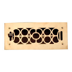 Renovators Supply - Heat Registers Bright Solid Cast Brass Heat Register | 18567 - Control & SAVE on energy bills with registers that let you control every room?s airflow with their open or shut slide operated louver assembly (damper box). Mounts to floors or ceilings- damper box cannot be locked in place. Polished & lacquered to prevent tarnishing their traditional scroll design & heavy cast brass are of superior quality workmanship. Mounting hardware not included. Overall 4 7/8 x 10 7/8.