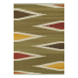 Loloi Rugs - Loloi Rugs Santana Green-Multi Transitional Hand Woven Rug X-0D39LMRG40-ASTNAS - The new Santana Collection takes a modern look at traditional kilims, employing the ancient flat weave construction, but with edgy new patterns for today. Choose from eight all-wool designs that have transitional and modern appeal. Made in India andfinished with fringed ends, Santana's color application recalls today's popular Ikat designs