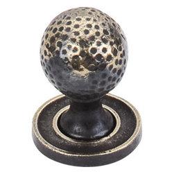 "Top Knobs - Paris Knob Mottled 1 1/4"" w/Backplate - Dark Antique Brass - , Width - 1 1/4"", Projection - 1 5/8"", Base Diameter - 11/16"""