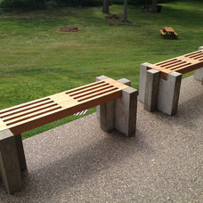 Redwood and concrete patio benches.