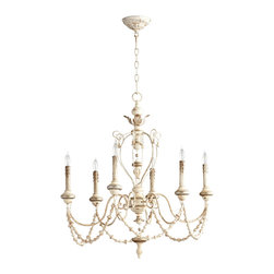 Kathy Kuo Home - Florent White Washed French Country Beaded Swag 6 Light Chandelier - This has to be the most understated interpretation of a beaded swag chandelier ever.  Subtle, elegant colors and classic design touches like leaves and finials get a decorative touch from beaded swag. French Country lighting fans will be delighted by the formal lines and understated finish of this beauty.