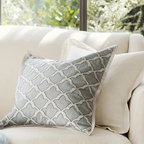 "Marlo Embroidered Pillow Cover, 18"", Gray - A Moroccan tile motif is outlined with precise embroidery stitches on our textural pillow cover. 18"" square Made of a cotton/linen blend. Lined with cotton. Envelope closure. Insert sold separately; down blend or synthetic. Machine wash. Imported."