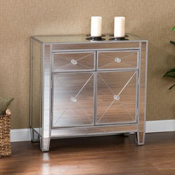 Upton Home - Dalton Mirrored Cabinet - A mirrored finish and practical size highlight this media stands. This console cabinet also features two drawers and one large double door storage cabinet with faux crystal knobs.