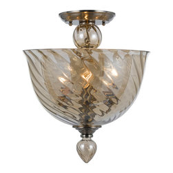 Crystorama - Crystorama 9843-CH-CG Harper 3 Light Semi-Flush Mounts in Polished Chrome - Cognac is everywhere in fashion. In jewelry, in clothing, in shoes, hand bags and other accessories. The colors are straight off the runway.