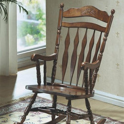 Monarch Specialties - Embossed Back Rocking Chair in Dark Walnut Fi - Country style. High arrowback with shaped top splat. Detailed floral carvings. Soft curved arms with turned spindle supports. Turned legs. Made from wood. 24.5 in. W x 36.5 in. D x 43.5 in. H (35 lbs.)Whether your are a new mom looking to sooth a baby or just want place to sit and relax, this rocking chair will be a lovely addition to your home.
