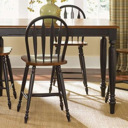 Liberty Furniture - Low Country 5 Pc Gathering Table Set - Includes table and four barstools. Turned legs. Warranty: One year. Made from select hardwood solids and cherry veneers. Made in Malaysia Table:. Suntan bronze top. One 18 in. butterfly leaf. Minimum: 54 in. L x 54 in. W x 36 in. H. Maximum: 72 in. L x 54 in. W x 36 in. H (132 lbs.)Barstool:. Nylon glides. Saddle shaped seating. 22 in. W x 18 in. D x 42 in. H (14 lbs.)