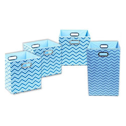Sky Chevron Organization Bundle- 3 Storage Bins, 1 Laundry Hamper - Treat yourself to some sanity with these clutter busters. Get organized and get your kids organized too with these fun, decorative storage bins. The lightweight, matching laundry hamper makes toting dirty clothes a breeze.