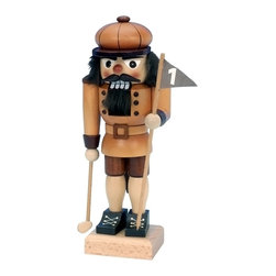 """Alexander Taron - Alexander Taron Christian Ulbricht Nutcracker - Golfer - 9.75""""H x 4""""W x 4""""D - The small Golfer nutcracker from Ulbricht/Seiffener Nussknacker is handmade in Germany in a natural wood finish. He's holding the flag for the first hole and a golf club. He's a handsome figure and would be a good gift for your golfer - too."""