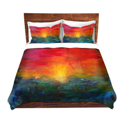 DiaNoche Designs - Duvet Cover Twill - Rainbow Sunset - Lightweight and super soft brushed twill Duvet Cover sizes Twin, Queen, King.  This duvet is designed to wash upon arrival for maximum softness.   Each duvet starts by looming the fabric and cutting to the size ordered.  The Image is printed and your Duvet Cover is meticulously sewn together with ties in each corner and a concealed zip closure.  All in the USA!!  Poly top with a Cotton Poly underside.  Dye Sublimation printing permanently adheres the ink to the material for long life and durability. Printed top, cream colored bottom, Machine Washable, Product may vary slightly from image.