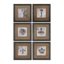 Uttermost - Symbols Wall Art Set of 6 - Prints feature a glossy finish and are accented by medium brown burlap mats.