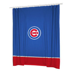 Sports Coverage - MLB Chicago Cubs Baseball Bathroom Accent Shower Curtain - FEATURES: