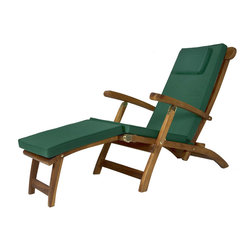 All Things Cedar - Teak Steamer with Green cushion - Our Teak Steamer Chair features a multi-position back for your lounging comfort. Mortise and tenon construction using solid Javanese Teak. - Finished with a light teak oil and fitted solid brass hardware to ensure many years of trouble-free use. Item is made to order.