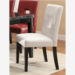 2 PC Modern White Wood Dining Chairs Leather Seat Back 103612WHT - Blend contemporary and casual style effortlessly into your dining room decor with this side chair. The piece features a keyhole designed back and offers three different upholstery colors, including black, red and white. Plus, the tapered legs come in a beautiful cappuccino finish.