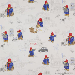 Jane Churchill - London Paddington Bear Fabric - What adventures will Paddington Bear get up to next? Bring everyone's favorite bear into the nursery with this delightful fabric featuring an illustrative design inspired by Peggy Fortnum's original drawings. Dress up the nursery with a bed skirt or drapes to add Paddington-worthy sweetness to the room. There's a one-yard minimum order.