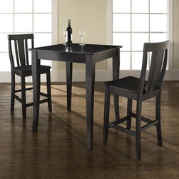Crosley Furniture - 3 Pc Pub Dining Set w Cabriole Leg and Shield - Includes Pub Table and 2 Shield Back Stools in Black. Solid Hardwood & Veneer Construction Table . Solid Hardwood Stools. Hand Rubbed, Multi-Step Finish. Solid Hardwood, Carved Cabriole Style Legs. Shaped Back for Comfort. Table Dimensions: 36 in. H x 32 in. W x 32 in. D. Stool Dimensions: 40 in. H x 18.5 in. W x 22.5 in. DConstucted of solid hardwood and wood veneers, the 3 piece Pub / High Dining set is built to last. Whether you are looking for dining for two, or just a great addition to the basement or bar area, this set is sure to add a touch of style to any area of your home.