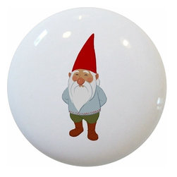 Carolina Hardware and Decor, LLC - Gnome Red Boots Ceramic Cabinet Drawer Knob - New 1 1/2 inch ceramic cabinet, drawer, or furniture knob with mounting hardware included. Also works great in a bathroom or on bi-fold closet doors (may require longer screws).  Item can be wiped clean with a soft damp cloth.  Great addition and nice finishing touch to any room.