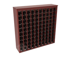 100 Bottle Deluxe Wine Rack in Redwood with Cherry Stain + Satin Finish - This wooden wine rack functions well as either a freestanding wine rack furniture or as part of a complete wine cellar design. Solid top and side enclosures promote the cool and dark storage area necessary for aging your wine properly. Your satisfaction and our racks are guaranteed.