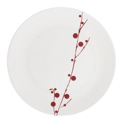 Red Berry Dinner Plate by Bodo Sperlein - I swear, if I had a registry in my life, this is the first thing I'd put on it. These Red Berry plates by Bodo Sperlein are spare and beautiful. They are a great way to add a winter touch to a holiday table, but they work all year round.