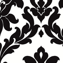Large Scale Damask in Black and White - VG26230P - Collection:Norwall Black & White 2