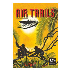 """Buyenlarge.com, Inc. - Seaplane Over the Tropics - Gallery Wrapped Canvas Art 12"""" x 18"""" - Travel & Leisure during the Heyday of Commercial Air Travel when Flying was exciting and foreign locations exotic.  Cover for the Januaru 1939 issue of Air Trails magazine.  A seaplane flys above the dense jungle as a family of monkeys watch from the branches."""