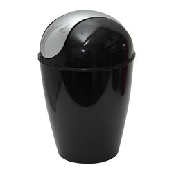 Pp Waste Basket 4.5-Liter/1.2-Gal -Black - This waste basket for bathrooms is made of shiny polypropylene and features a convenient chrome plated finish swing top lid. This versatile flaring shape waste basket brings style to your bathroom and fits easily in any bathroom or under any desk with its capacity of 4.5-Liter/1.2-Gal. Diameter of 8.27-Inch and height of 13.39-Inch. Clean with soapy water. Color shiny black. Keep your bathroom clean in a trendy style with this attractive waste basket! Complete your decoration with other products of the same collection. Imported.