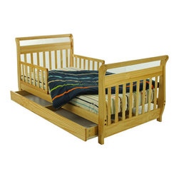 Dream On Me - Sleigh Toddler Bed with Storage Drawer - Features: -Material: Solid wood. -Features a drawer beneath the bed for added storage. -Designed low to the ground for added safety. -Included are safety guard rails for peace of mind security. -Wooden mattress support rails that provide durability and support without the use of a box spring. -Comes complete with all necessary tools for easy assembly. -Recommended for children 18 months to 5 years old. -Non-toxic. -30 Days manufacturer's warranty. -Assembly required.