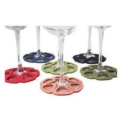 Dimlim - Stemware Coasters, Limon and Blossom, Large/Red Wine - A set of 6 stemware coasters that wrap around the bottom of wine glasses and serve as a tag as well as coasters, to identify your guests drink and protect furniture from liquid damage.