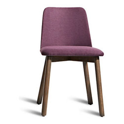 Blu Dot - Chip Dining Chair, Purple/Smoke - Why's it called Chip? We don't know. But what we do know is that this dining chair is one smooth operator. Its cushioned seat, solid wood base, and full upholstery make it a well-chosen seat for any dining room.