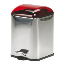 WS Bath Collections - Karta Metal Waste Basket in Red - Karta 5363 by WS Bath Collections 8.3 x 8.3 x 11.4 Waste Basket, Waste Basket Includes Removable Inner Basket Foot-pedal Opening, Made of Galvanized Chromed Abs, Transparent Coloured Polycarbonate, Bright Stainless Steel Body, Made in Italy