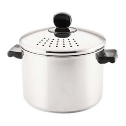 Farberware Cookware - Farberware 8 Qt. Saucepan - Farberware 8 QT Covered Straining Saucepan. The built-in colander lid lets you strain and drain foods directly from the pan, eliminating the need for a separate colander. To strain, simply twist the lid in place to lock it securely and pour. Thanks to this feature, you'll enjoy having no colander to clean and no food accidentally pouring into the sink. To accommodate a variety of foods, the lid has large and small size holes.