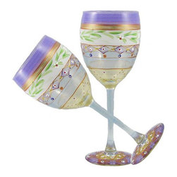 Golden Hill Studio - Mosaic Garland Wine Glasses Set of 2 - Of course the environment affects the flavor of wine. In this case, a spectacularly artistic presentation of your favorite vintage is just bound to help it taste better. Each hand-painted glass just adds to the experience.