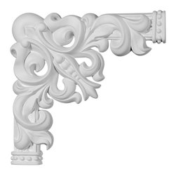 """Ekena Millwork - 11""""W x 11""""H Nexus Panel Moulding Corner - 11""""W x 11""""H Nexus Panel Moulding Corner. Our beautiful panel moulding and corners add a decorative, historic, feel to walls, ceilings, and furniture pieces. They are made from a high density urethane which gives each piece the unique details that mimic that of traditional plaster and wood designs, but at a fraction of the weight. This means a simple and easy installation for you. The best part is you can make your own shapes and sizes by simply cutting the moulding piece down to size, and then butting them up to the decorative corners. These are also commonly used for an inexpensive wainscot look."""