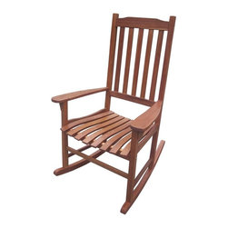 None - Traditional Acacia Hardwood Rocking Chair - This rocking chair made of Acacia Hardwood features a classic style with slatted seat and back. The rocker is suitable for indoor and outdoor use for a decorative addition to your decor.