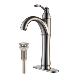 Kraus - Kraus Riviera Single Lever Vessel Faucet with Matching Pop Up Drain Satin Nickel - *Add a touch of elegance to your bathroom with a vessel sink faucet from Kraus