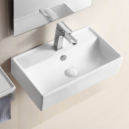 Caracalla - Rectangular White Ceramic Wall Mounted Or Vessel Bathroom Sink - Sleek and stylish rectangular vessel or wall mounted sink with a single hole and overflow. Crafted by Caracalla in Italy from ceramic and finished with a white glaze. Unique basin has a parabolic curvature adding to the aesthetics. Sleek rectangular sink. Vessel or wall mounted. Single hole. With overflow. ADA compliant. Designed by Caracalla. Standard drain size of 1.25 inches. Because the sink has multiple installations, the back side is not glazed.
