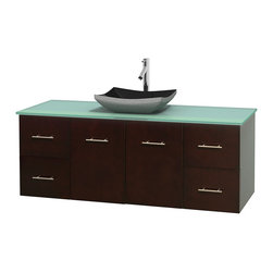 "Wyndham Collection - Centra 60"" Espresso Single Vanity, Green Glass Top, Altair Black Granite Sink - Simplicity and elegance combine in the perfect lines of the Centra vanity by the Wyndham Collection. If cutting-edge contemporary design is your style then the Centra vanity is for you - modern, chic and built to last a lifetime. Available with green glass, pure white man-made stone, ivory marble or white carrera marble counters, with stunning vessel or undermount sink(s) and matching mirror(s). Featuring soft close door hinges, drawer glides, and meticulously finished with brushed chrome hardware. The attention to detail on this beautiful vanity is second to none."