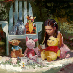 "Acme Archives Direct - ""Garden Tea Party"", C.M. Cooper Artist Proof Giclee - For the princess in your life or a fan of Winnie the Pooh, this signed, limited edition, giclee on canvas by noted figurative painter, C.M. Cooper, would add a touch of whimsy to a nursery or child's room.  The 16"" x 20"" giclee on canvas is signed and numbered by the artist and is the Artist Proof from an edition of 150.  The canvas is mounted on wood stretcher bars with wrapped sides, ready for hanging.  A Certificate of Authenticity is included for this officially licensed Disney collectible fine art."