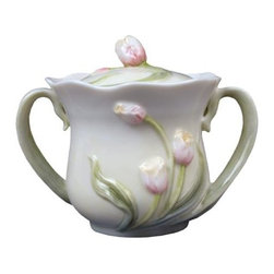 US - 4.25 Inch Glazed White Porcelain Sugar Bowl, Tulip Lid, Tulip Blooms - This gorgeous 4.25 inch glazed white porcelain sugar bowl, tulip lid, tulip blooms has the finest details and highest quality you will find anywhere! 4.25 inch glazed white porcelain sugar bowl, tulip lid, tulip blooms is truly remarkable.