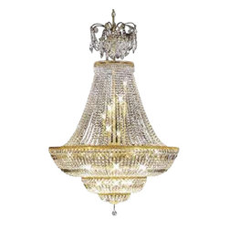James R Moder - 92050GL00 James R Moder Empire Chandelier - In most designs, the major cost of a Crystal Chandelier is the price of the Crystal components. The quantity and shapes of the Crystal utilized to trim the Chandelier and most importantly, as in grades of diamonds, the crystal quality determines the price. James R Moder  Crystal offers its highest quality Chandeliers (-00), trimmed with 100% Brilliant Swarovski  Elements Crystal components, manufactured in Austria. Also available Swarovski  Elements Color Crystal. Spray Name: No Top Spray.