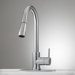 Robinet Pull-Down Kitchen Faucet with Deck Plate - Modernize the look of your kitchen with the Robinet Pull-Down Kitchen Faucet with Deck Plate. This faucet features bold lines and a single-lever control.