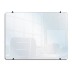 Luxor Furniture - Wall Mounted Glass Marker Board - Tempered 0.25 in. (6mm) thick glass. Glass is the ideal surface for wet/dry erase markers. Will not stain or ghost. Stainless steel mounting pucks. Two popular sizes to choose from. Board Size: 40 in. W x 30 in. H (33 lbs)