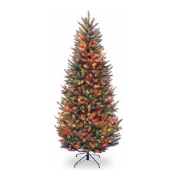 7 1/2 Ft. Natural Fraser Slim Fir Christmas Tree w/ 600 Multi Lights - Measures 7.5 feet tall with 48 inch diameter. Pre-lit with 600 UL listed, pre-strung multicolor lights. Tip count: 1667. All metal hinged construction (branches are attached to center pole sections). Comes in three sections for quick and easy set-up. Includes sturdy folding metal tree stand. Light string features BULB-LOCK to keep bulbs from falling out. If one bulb burns out the others remain lit. Fire-resistant and non-allergenic. Includes spare bulbs and fuses. 5-year tree warranty / 2-year lights warranty. Packed in reusable storage carton. Assembly instructions included.