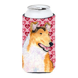 Caroline's Treasures - Collie Smooth Hearts Love and Valentine's Day Portrait Tall Boy Koozie Hugger - Collie Smooth Hearts Love and Valentine's Day Portrait Tall Boy Koozie Hugger Fits 22 oz. to 24 oz. cans or pint bottles. Great collapsible koozie for Energy Drinks or large Iced Tea beverages. Great to keep track of your beverage and add a bit of flair to a gathering. Match with one of the insulated coolers or coasters for a nice gift pack. Wash the hugger in your dishwasher or clothes washer. Design will not come off.