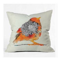 "DENY Designs - Iveta Abolina Orange Bird Throw Pillow - Wanna transform a serious room into a fun, inviting space? Looking to complete a room full of solids with a unique print? Need to add a pop of color to your dull, lackluster space? Accomplish all of the above with one simple, yet powerful home accessory we like to call the DENY Throw Pillow! Features: -Iveta Abolina collection. -Material: Woven polyester. -Sealed closure. -Spot treatment with mild detergent. -Made in the USA. -Closure: Concealed zipper with bun insert. -Top and back color: Print. -Small dimensions: 16"" H x 16"" W x 4"" D, 3 lbs. -Medium dimensions: 18"" H x 18"" W x 5"" D, 3 lbs. -Large dimensions: 20"" H x 20 W x 6"" D, 3 lbs."