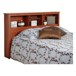 Prepac - Prepac Cherry Double/ Queen Bookcase Headboard - Add a finishing touch and storage space to your bedroom with the full/queen bookcase headboard. Designed to suit any decor, this headboard adds three compartments' worth of storage to your bedroom. Adjust the shelf in the middle compartment to suit your needs and style. Finally, a place to store and display your books, alarm clock and picture frames! this free-standing product is designed to be paired with any full or queen bed including our full & queen mate's platform storage beds.