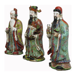 """Golden Lotus - Set/3pcs Chinese Colorful Porcelain Hand Made FuLuShou Statue - This is a set of three pieces beautiful hand carving statue which is made of porcelain.  They represent """"Fu-Lu-Shou"""" which means Fortune/Prosperity/Longevity from right to left.  They come with very detail carving on it, look at their face, head and even their cloth."""