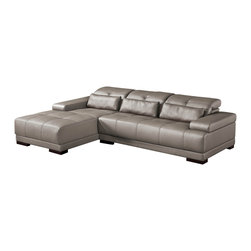 ESF Furniture - 6008 Modern Leather Sectional Sofa in Gray - This sectional set will put a remarkable accent into your living room area. The set includes sectional with adjustable head rests and optional ottoman wrapped in Genuine Italian leather. Sure to become your favorite spot in the house.