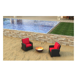 Forever Patio Barbados 2 Piece Wicker Outdoor Set with Red Sunbrella Cushion